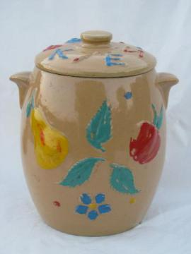 Red Wing pottery, vintage hand-painted stoneware cookie jar