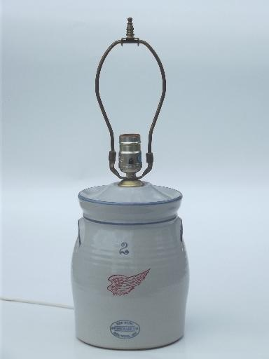Red wing stoneware crock jar lamp vintage country primitive table lamp aloadofball Gallery