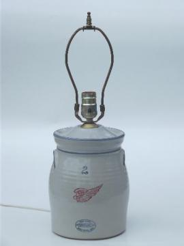 Red Wing stoneware crock jar lamp, vintage country primitive table lamp