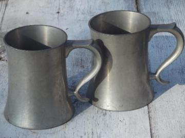 Reed & Barton pewter tankards, heavy pewter vintage beer steins / mugs