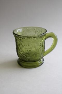 Remember Me pattern glass mug or cup, vintage reproduction antique pressed glass
