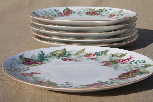 & Restoration Hardware Christmas red berries china salad plates set of 6