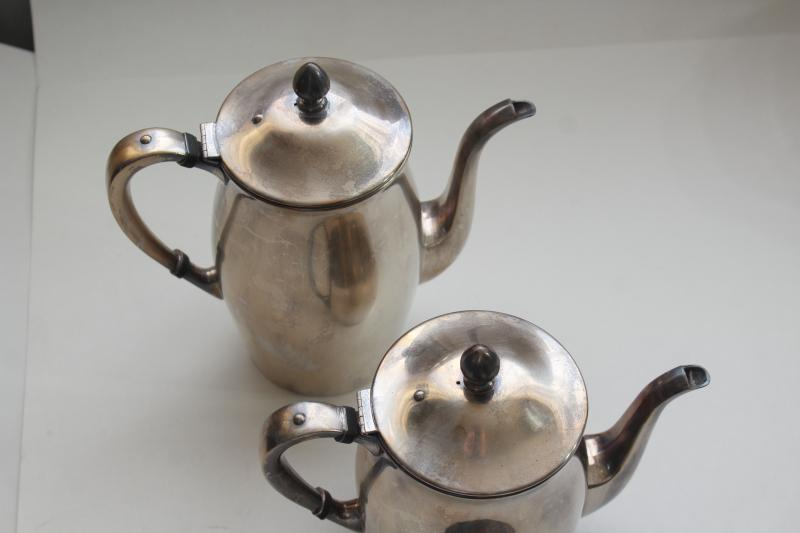 Revere style Poole silver tea & coffee pots, vintage silverplate tea set antique reproduction