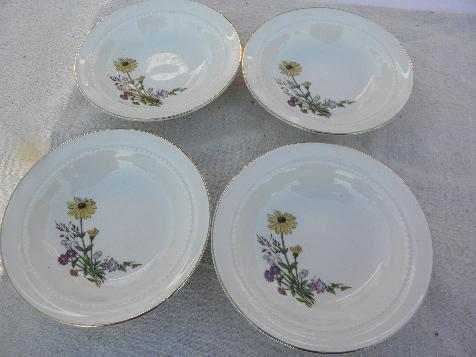 Richmond pattern vintage Hall china bowls, brown eyed susans & asters