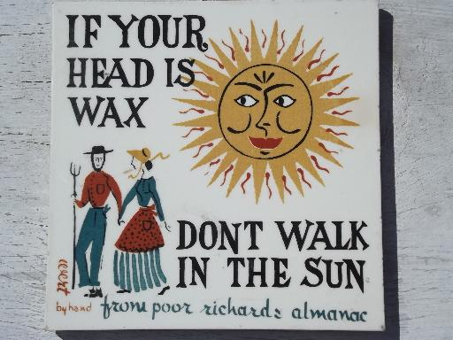 Robert Darr Wirt folk art print tiles Ben Franklin Poor Richard's Almanac motto