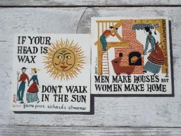 Robert Darr Wirt folk art print tiles Ben Franklin Poor Richard's Almanac motto