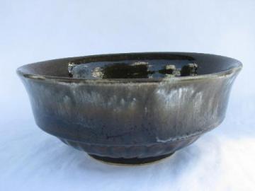 Robinson - Ransbottom vintage Roseville pottery pudding mold bowl w/ drip glaze