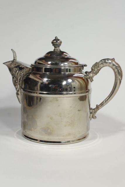 Rochester nickel silver teapot, antique early 1900s vintage railroad table ware