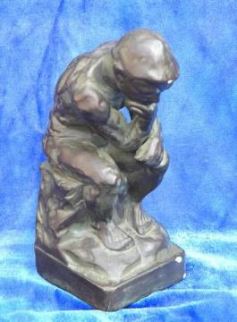 Rodin's bronze 'The Thinker', vintage chalkware statue Japan