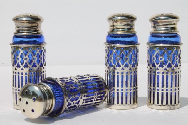 Rogers Silver Plated Cobalt Blue Glass Salt Pepper Shakers