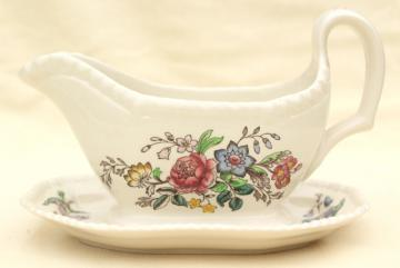 Romney Copeland Spode England vintage china gravy boat or sauce w/ attached underplate