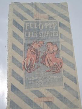 Rooster graphics, vintage Ful-O-Pep chicken feed bag, old cotton feedsack