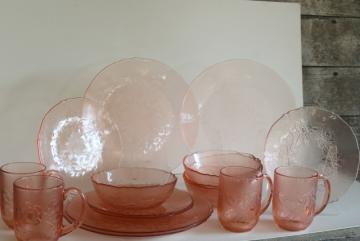 Rosa Rosaline pink glass Arcoroc France, French kitchen glass dinnerware set for 4