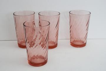Rosaline swirl vintage Arcoroc France glass tumblers, pink depression colored glassware