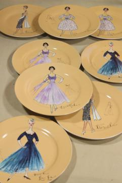 Rosanna china dessert or salad plates, line drawing ladies in vintage cocktail gowns