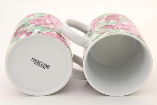 Rose Garden pattern pink roses ceramic coffee mugs set, Horchow vintage Japan china