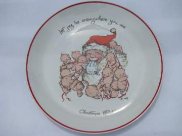Rose O'Neill kewpie doll collector's plate, Christmas kewpies & Santa, vintage Japan