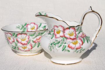 Rose of England pink roses vintage Hammersley English bone china cream & sugar set