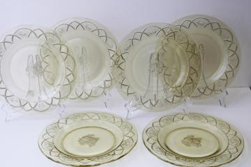 Rosemary pattern yellow glass plates, 1930s vintage depression era glassware