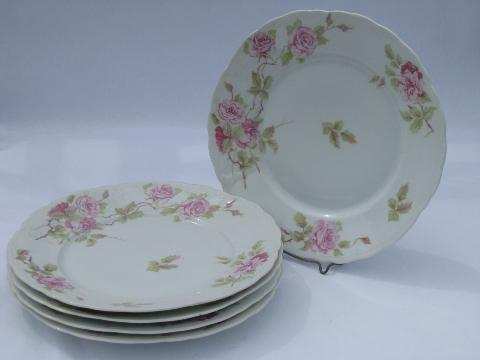 Rosenthal Iris, pink roses pleat pattern china dinner plates