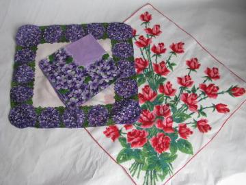 Roses are Red, Violets are Blue, vintage print cotton hankies for Valentine's Day