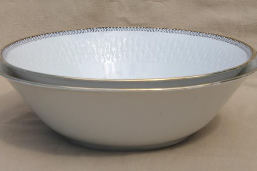 Rosiau Winterling Bavaria china serving bowls, black border design on white porcelain