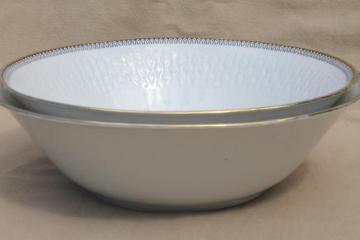 Rosiau Winterling Bavaria china serving bowls, black border design on white porcelain