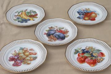 Roslau Winterling Bavaria vintage openwork border ribbon china plates w/ fruit