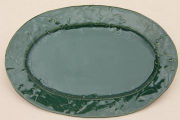 Rowe Pottery Cambridge Wisconsin green glaze maple & oak leaf serving platter