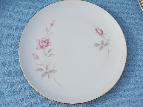 Royal Cameo china, Regina Rose dessert set - plates, cups & saucers