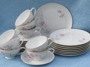 Royal Cameo china, Regina Rose dessert set - plates, cups & saucers