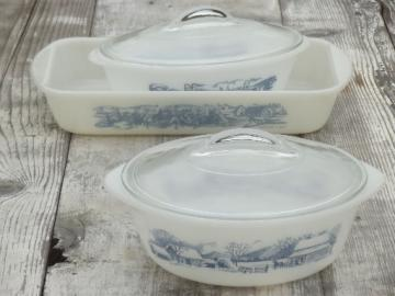 Royal Currier & Ives Glasbake vintage kitchen glass casseroles, baking pans