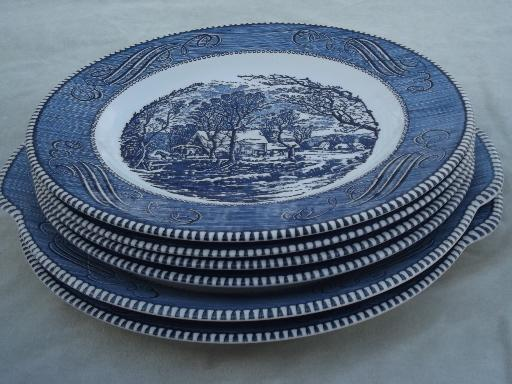 & Royal Currier u0026 Ives blue and white china dinner plates and platters