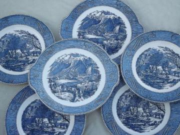 Royal Currier & Ives blue and white china dinner plates and platters