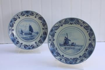 Royal Delft vintage hand painted plates, de porceleyne fles marked and signed