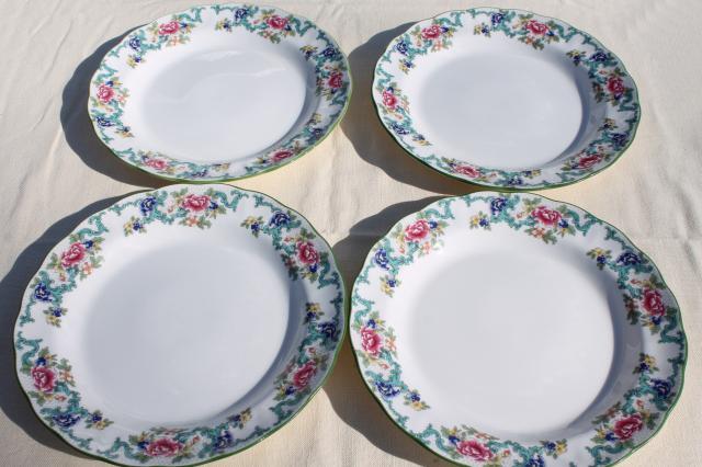 Royal Doulton Floradora green England fine china dinner plates vintage set of four & Royal Doulton Floradora green England fine china dinner plates ...