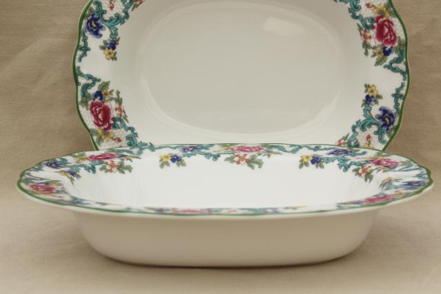 Royal Doulton Floradora green trim floral china pair oval bowl serving dishes : royal doulton dinnerware sets - pezcame.com