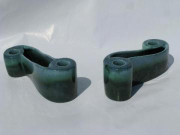 Royal Haeger pottery curlicue S shape candle / flower holders, drip glaze