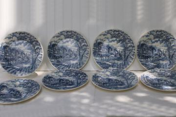 Royal Mail blue transferware vintage Royal Wessex china dinner plates, coach & tudor houses