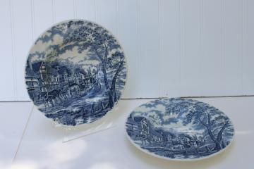 Royal Mail blue transferware vintage Royal Wessex china soup bowls, coach & tudor houses