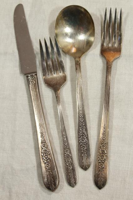 Royal Rose 1930s vintage silver plated flatware, Nobility Plate Oneida silverware