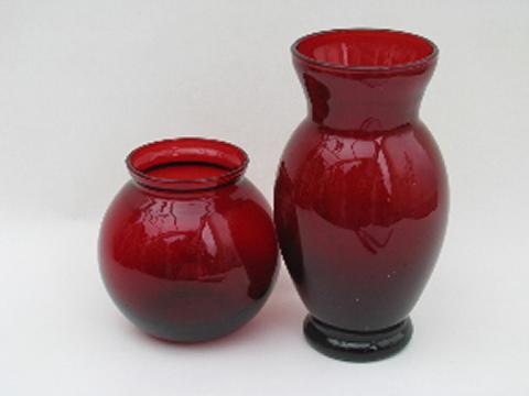 Royal Ruby Red Vintage Anchor Hocking Glass Vases Lot Round Ball