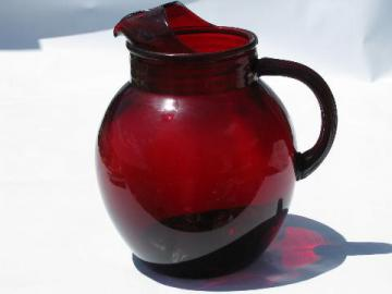 Royal Ruby red, vintage Anchor Hocking round ball glass pitcher