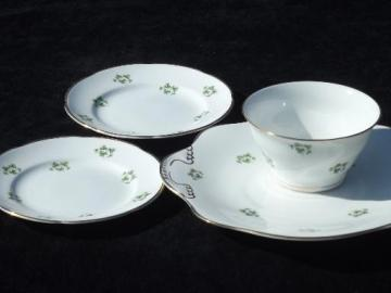 Royal Tara Irish green Shamrock china, cranberry bowl, plates, platter