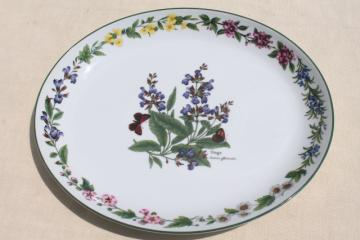 Royal Worcester Herbs English china platter, Sage illustration botanical floral