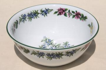 Royal Worcester Herbs English china vegetable bowl, rosemary illustration botanical floral
