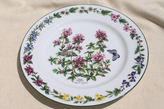 Royal Worcester Herbs botanical floral china service plate cake or chop plate & Royal Worcester Herbs botanical floral china service plate cake or ...