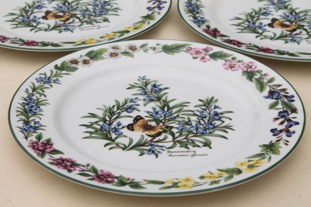 Royal Worcester Herbs botanical print china set of 4 dinner plates made in England & Worcester Herbs botanical print china set of 4 dinner plates made ...