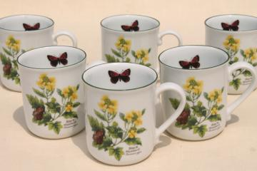 Royal Worcester Herbs botanical print china, set of six coffee / tea mugs