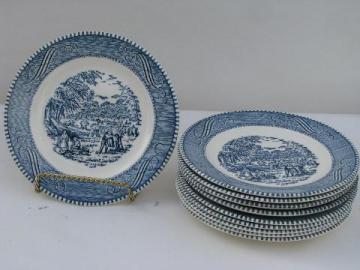 Royal china Currier & Ives blue & white cake or bread and butter plates, lot of 10